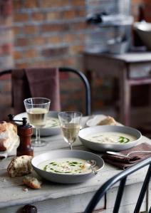 Clam chowder and white wine