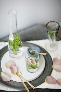 Lemonade with mint and rose water